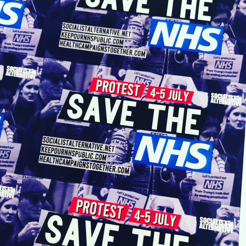 NHS protest stickers